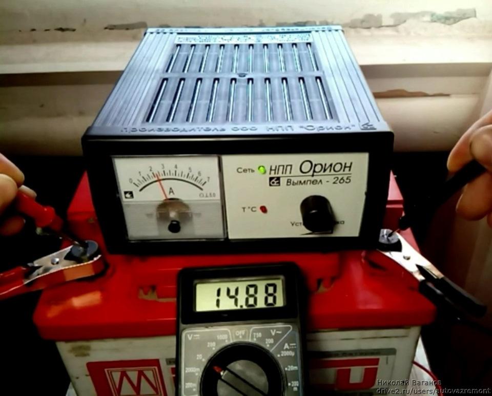 Проверка напряжения зарядного устройства тестером